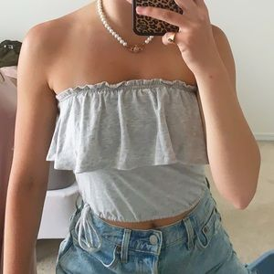 ABERCROMBIE&FITCH GRAY TUBE TOP ADJUSTABLE WAIST